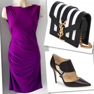 MAGGY BOUTIQUE ROYAL PURPLE RUCHED SHEATH DRESS